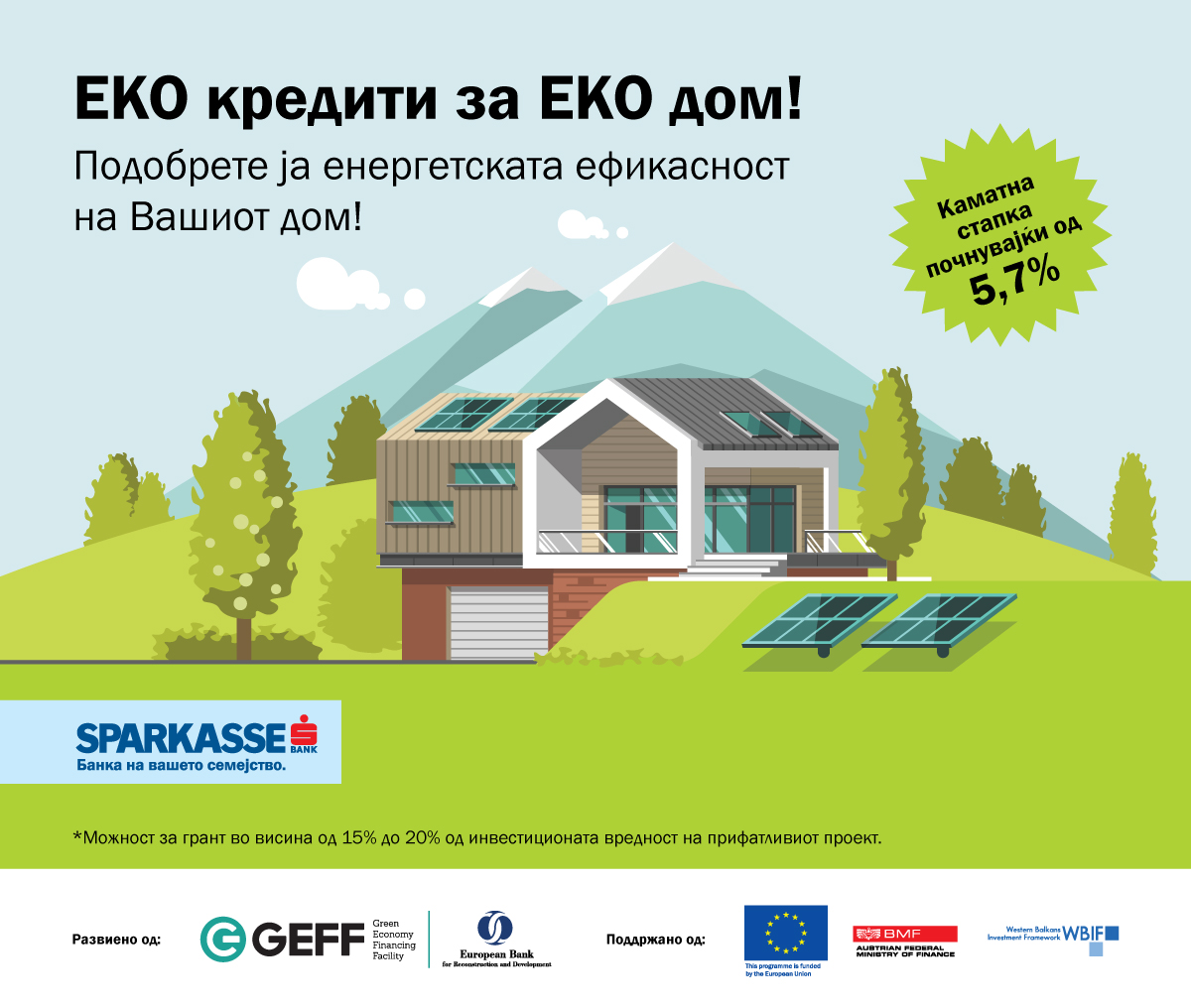 Кредити за унапредување на енергетската ефикасност на домаќинствата веќе достапни во експозитурите на Шпаркасе Банка
