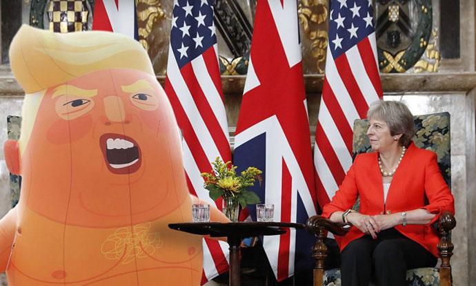 Трол на денот: Германска телевизија го претстави Трамп како бебе-балон